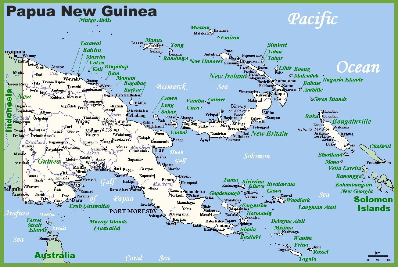 Papua Ny Guinea Kort Placering Papua Ny Guinea I Kort