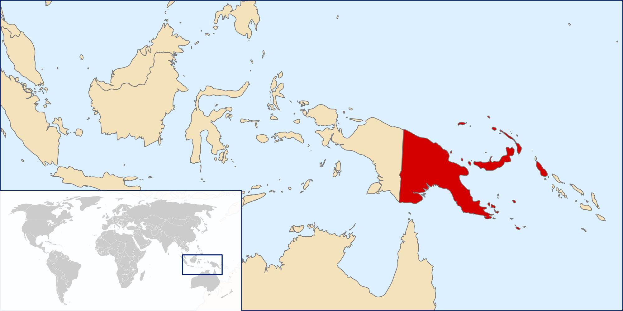 Papua Ny Guinea Verdenskort Papua Ny Guinea Placering Pa
