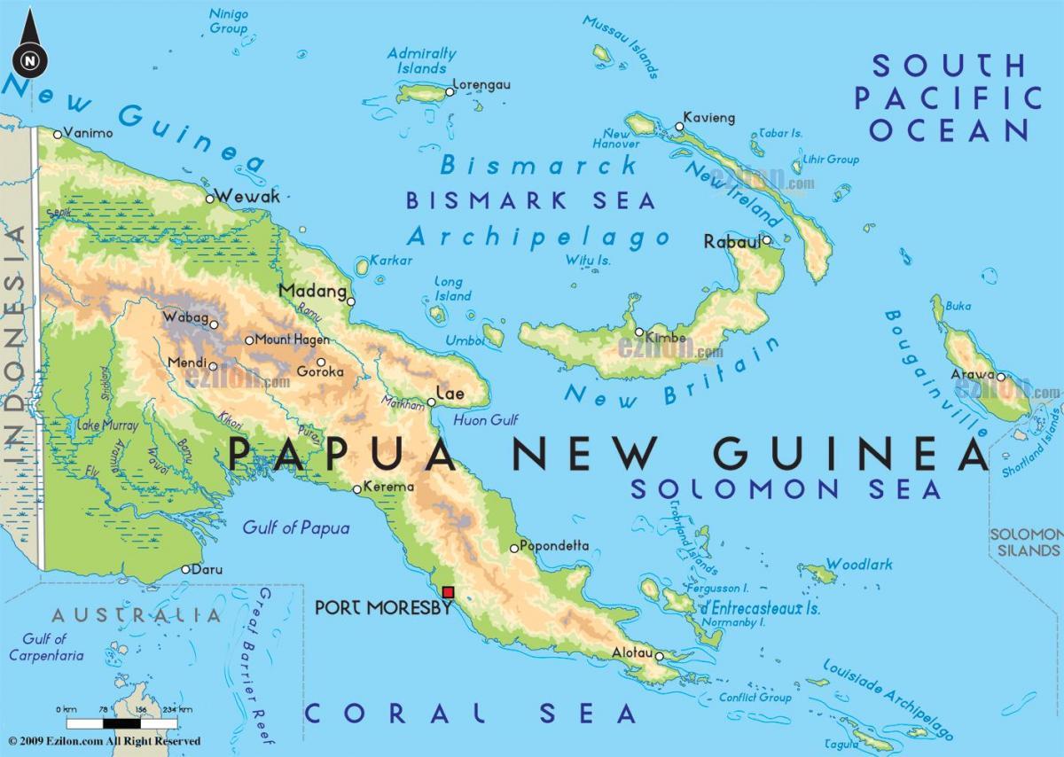 Hovedstaden I Papua Ny Guinea Kort Kort For Hovedstaden I Papua